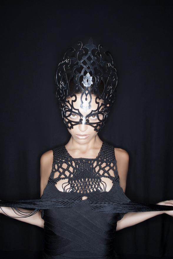 Hat_millinery_studio_aniss_laser_cut_leather_modern_edgy_avant_garde_Mask
